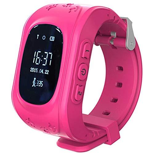 YUMO Niños GPS Reloj del perseguidor de Q50 Seguimiento Inteligente de GPS del Reloj de la Seguridad con la Ranura de la Tarjeta SIM SOS,Rosado