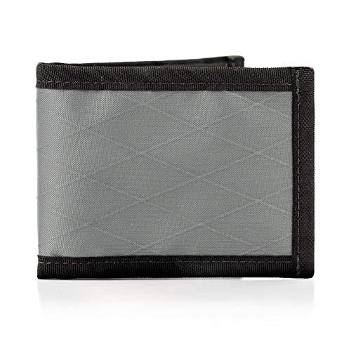 Flowfold Vanguard Minimalist Bifold Wallet - Ultralight, Slim Wallet, Front Pocket Wallet & Made in USA Wallet (Grey)