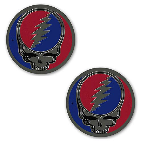 2 New 1' Grateful SYF Dead Steal Your Face Company Brass Metal Sticker SYF Emblem Decal Jerry Garcia Deadhead Officially Licensed Actual 1.7'