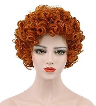 Karlery Short Bob Curly Orange Wig Halloween Cosplay Wig Anime Costume Party Wig