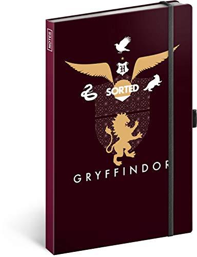 Cuaderno de rayas con banda de goma aprox. A5 – Bloc de notas para mujeres, niñas, adolescentes y niños – Escuela y oficina diario (Harry Potter – Gryffindor)