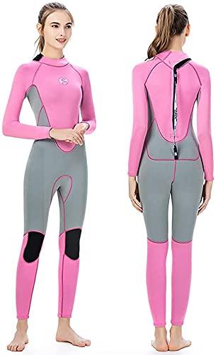 Traje de Neopreno de 3 mm para Mujer, Traje de Neopreno Completo, Trajes de Buceo de Manga Larga, Traje de baño para natación, Buceo, Surf, Kayak, Snorkel (Color : Pink, Size : M)