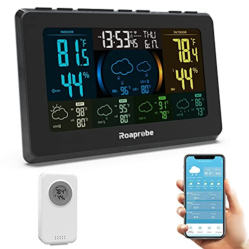WiFi Weather Station Wireless Indoor Outdoor Thermometer, Roaprobe HD Color Display Smart Weather Thermometer Home Weather Station with Weather Forecast,Accurate Temperature and Humidity Monitor