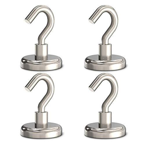 32MM Neodym Magnethaken, Super Starker Magnet Haken, leistungsstarke Magnete mit Haken, Magnetischer Haken 80LBS (36KG) Haftkraft Extra Stark für Küche Badezimmer Garage Büro Kratzschutz (4 Stück)