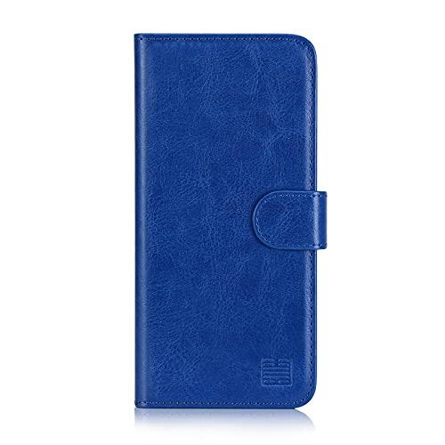 32nd PU Leder Mappen Hülle Flip Hülle Cover für Motorola Moto E7, Ledertasche hüllen mit Magnetverschluss & Kartensteckplatz - Blau