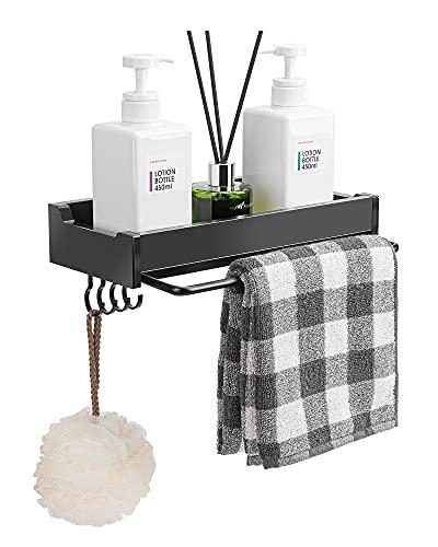 Shower Shelf No Drilling with Towel Rail, Self-Adhesive Bathroom Shelf Shower Shelf with Hooks, Space Aluminium Shower Basket Organiser for Bathroom Kitchen, Black