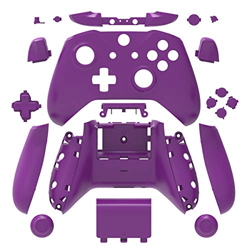 Purple Matt Finish Full Housing Shell Case Cover Mod Kit Replacement for Xbox One S & Xbox One X Controller DIY Custom Including Front Faceplate Bottom Shell Buttons Tools
