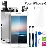 Ecran iPhone 6 Blanc 4,7' LCD Vitre Tactile Complet sur Châssis avec Outils de Réparation Bouton...