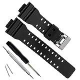 Natural Resin Replacement Watch Band Strap for Casio Mens G-Shock GD120/GA-100/GA-110/GA-100C (Black)