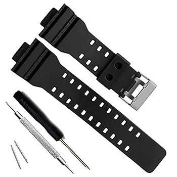 Natural Resin Replacement Watch Band Strap for Casio Mens G-Shock GD120/GA-100/GA-110/GA-100C  Black