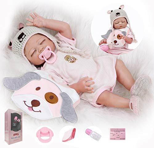 ZIYIUI 20 Pulgadas 50 cm Realista Muñecas Reborn Bebé Reborn Niña Cuerpo Silicona Renacer Recién Nacido Hecho a Mano Dormido Niña Regalo de cumpleaños Juguetes para Mayores de 3 años