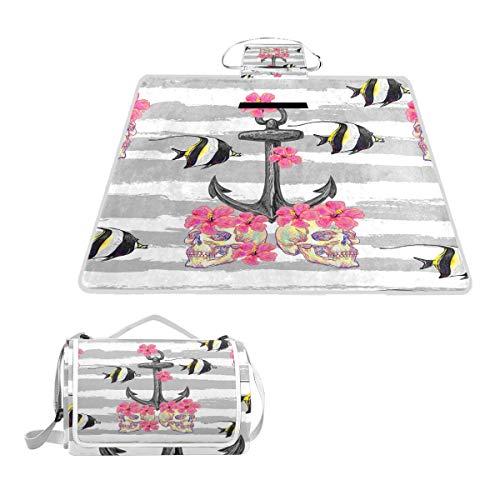 TIZORAX Picknickdecke mit Totenkopf-Motiv, Fisch-Anker und Seestern, wasserdicht, für den Außenbereich, faltbar, Picknick, praktische Matte für Strand, Camping, Wandern