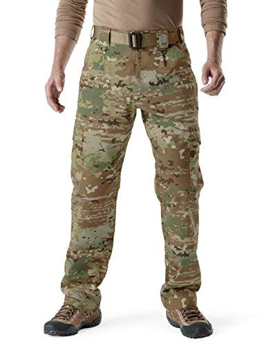 CQR Men's Tactical Pants, Water Repellent Ripstop Cargo Pants, Lightweight EDC Hiking Work Pants, Outdoor Apparel, Duratex(tlp104) - Multi Terrain, 34W x 36L