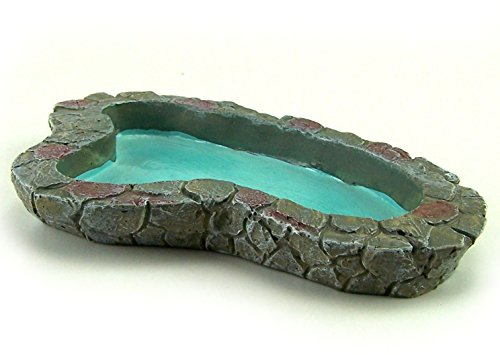 Miniatur Teich aus Polyresin. Für Krippe oder Puppenhaus. 16,5x10x2 cm