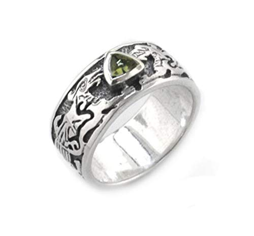 Genuine Green Moldavite Meteor Celtic Knot Dragon Sterling Silver Ring Size 12(Sizes 4,5,6,7,8,9,10,11,12,13,14,15)