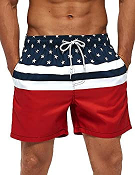SILKWORLD Men s Board Shorts Swim Trunks Quick Dry Summer Beachwear with Pockets,American Flag,X-Large