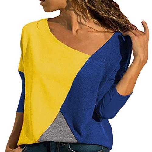 Lazzboy Frauen Oansatz Spleißen Farbe Kollision Langarm Plus Size Easy Tops Bluse Damen Patchwork Farbblock T-Shirt Asymmetrischer V-Ausschnitt Oberteile(Dunkelblau-a,L)