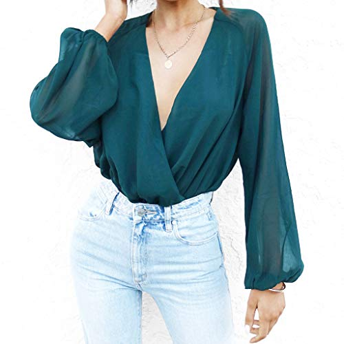 Alangbudu Women Chiffon V Neck One Piece Jumpsuit Long Sleeve Blouse Casual Tops Loose Shirt Baggy Pullover Office Tunic Green