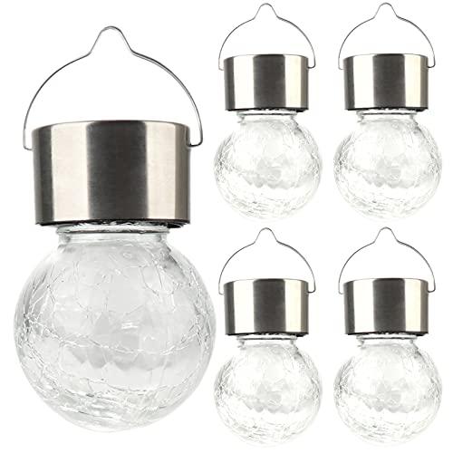 Rylod Paquete de 4 luces solares para colgar, luces de bola de cristal agrietadas, lámpara impermeable con asa para decoración al aire libre, color blanco