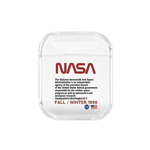 C CASESOPHY Hard Plastic Transparent Clear NASA Case for Apple Airpods 1 2 Wireless Earbuds Outer Space Luxury Designer High Fashion Tech Hot Brand Unique Cool Fun Gift Boys Son Kids Men