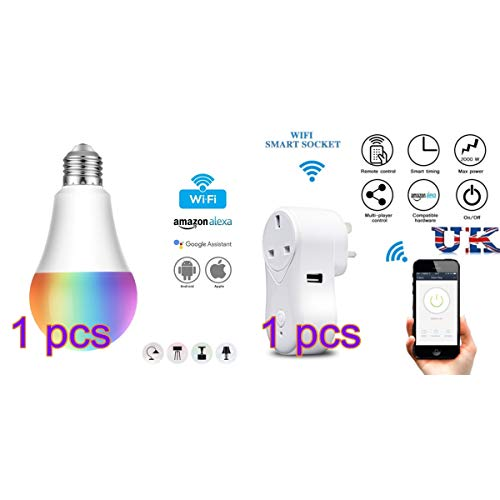 JIADIAN Bombilla Inteligente WiFi y Enchufe Inteligente, luz LED de Color Regulable Compatible con Alexa, Google Home y IFTTT, no Requiere hub