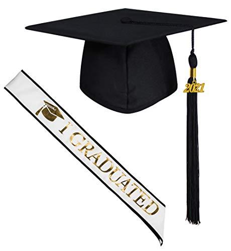 GraduatePro Doktorhut und Schärpe Bachelor Hut Master Geschenk Uni Abschluss Universität für Abschlussfeiern Deko Schwarz Weiß