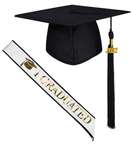 GraduatePro Birrete Graduación y Banda Universidad 2021 Adulto Estola Cinturón para Ceremonia Universitaria Unisex Decoracion Regalo