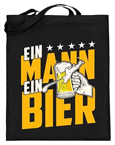 Ein Mann ein Bier Maßkrug Bierzelt Volksfest Geschenk - Jutebeutel (mit langen Henkeln) -38cm-42cm-Schwarz