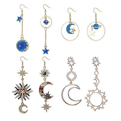 Finrezio 4 Paare Böhmen Mond Und Stern Erde Hohl Asymmetrische Ohrringe Für Frauen Mädchen Kristall Lange Tropfen Baumeln Ohrring Schmuck