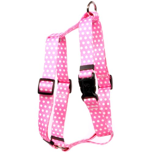 Yellow Dog Design New Pink Polka Dot Roman Style H Dog Harness, X-Small-3/8 Wide fits Chest of 8 to 14