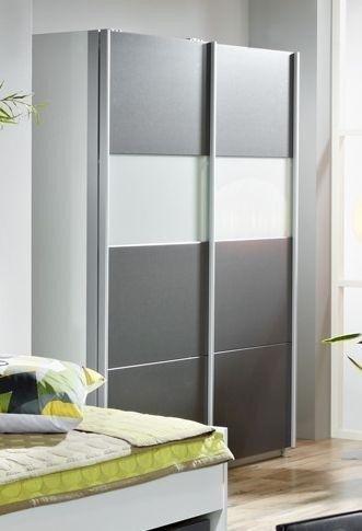 AVANTI TRENDSTORE - Armadio con Ante scorrevoli grigio-metallico e bianco d'imitazione, ca. 181x197x62cm