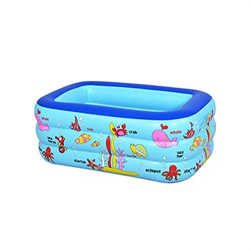 YMJTLTU Piscinas para niños pequeñas de 130 x 85 x 55 cm, inflables rectangulares para niños, piscina, juguetes de baño de bebé, rociador de agua, juguetes de playa (color azul)