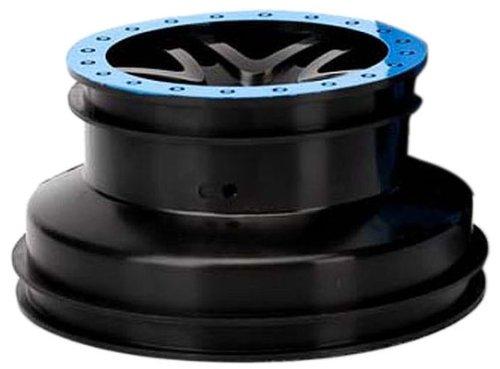 Traxxas 5884A SCT Split-Spoke Black Wheels, Blue Beadlock-Style (pair)