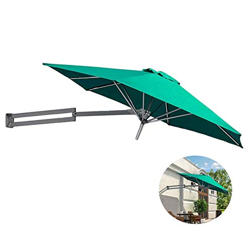 Parasols Wall Mount Patio Umbrella - Outdoor Garden Balcony Tilting Sunshade Umbrella, Aluminium Pole, 8ft / 250cm (Color : Green)