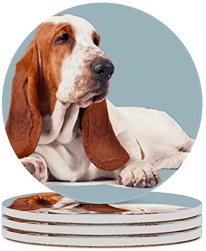 MZD - Sottobicchieri per tè e cani, colore: Blu per occhiali, decorazione per la casa, in sughero, per soggiorno, tavolo, antimacchia, 4 pezzi