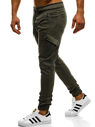 OZONEE Herren Chino Hose Chinos Lang Stoffhose Jogger Chinohose Pants Cargohose Cargo Freizeithose Arbeitshose Sporthose Slim Fit Regular Casual Stretch Taschen A/0853 GRÜN XL