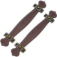 SUPVOX 2 Piezas de cajones de Cuero Tiradores de Maleta prácticos Vintage Tiradores de Cuero para Puerta de gabinete de cajón marrón Claro