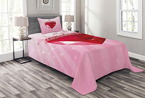 ABAKUHAUS Königin Tagesdecke Set, Rote Herz-Kronen-Mädchen, Set mit Kissenbezügen Waschbar, für Einzelbetten 170 x 220 cm, Pink Rot