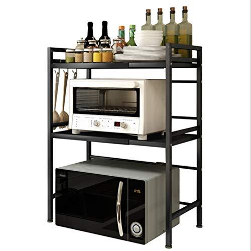 QAX Retractable Microwave Stand Stainless Steel Kitchen Storage Shelf Rack for Kitchen Countertop Storage Tableware Storage Horizontal Adjustable Save Space,Black,2 Layer