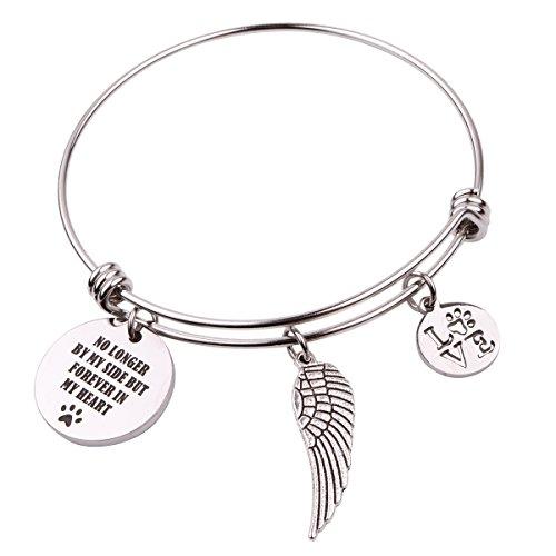 "Pet Memorial Gift Loss of Pet Bracelet ""No longer by my side but forever in my heart"" (No longer by my side Bracelet)"