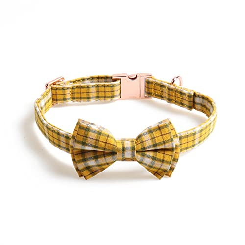 Yetier Collar para Perro, con Lazo y Hebilla de Metal, Entramado de Tela de algodón Ajustable, Adecuado para Perros pequeños y medianos