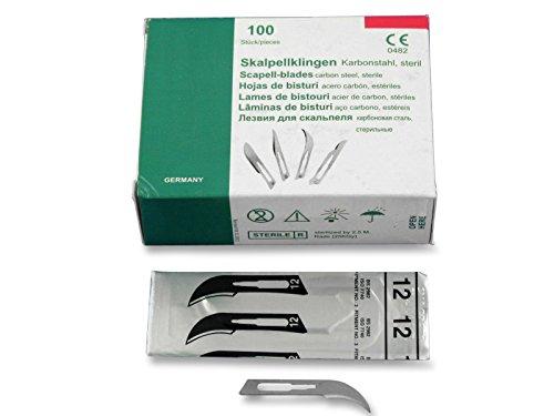 Einmal Skalpellklingen Figur Nr. 12. 10, 100, 500 Stück für Skalpellgriff Nr. 3 - Ersatzklingen einzeln steril verpackt aus Karbonstahl (100)