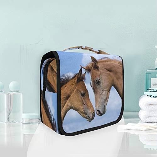 Kulturbeutel zum Aufhängen, Tier-Pferde, Kosmetiktasche für Frauen, Mädchen, multifunktional, Reisetasche, Kosmetiktasche