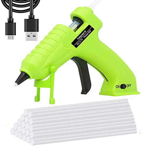 Cordless Hot Glue Gun, Yokgrass USB Rechargeable Anti-Drip Portable Mini Melt Glue Gun Kit with 20pcs Glue Sticks for DIY Crafts, School Projects and Fast Home Repairs(Green)