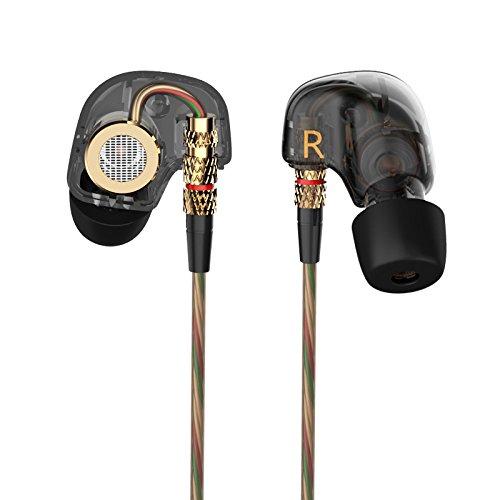 Auricular KZ ATE de 3,5 mm en oreja Auriculares Auriculares de metal de alta fidelidad Auriculares con aislamiento de ruido Estéreo para bajo pesado Auriculares para iPhone, iPad, Samsung Galaxy y más