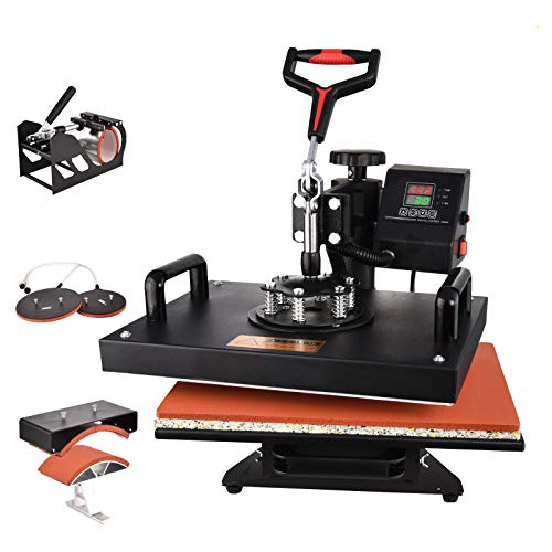 Heat Press Machine, 5 in 1 Digital Transfer Sublimation 12 X 15 inches Heat Press Machine for T- Shirts/Hat/Mug/Plate/Cap/Ball (5 in 1 Heat Press Machine)