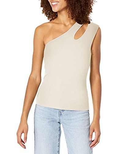 BCBGMAXAZRIA Women's Double Strap One Shoulder Tank Top, Off White,...