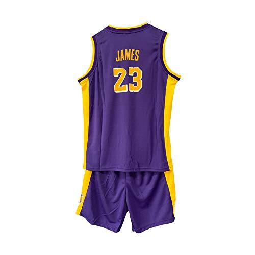 WELETION Kinder Trikot Lakers James Nr. 23 Jersey Basketball Shirt Weste Top Shorts für Jungen und Mädchen(Violett,XL)