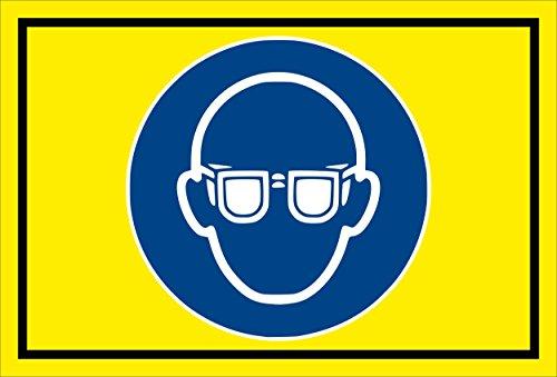 Stickers schild - Bodstekens - oogbescherming gebruiken - komt overeen met DIN ISO 7010/ASR A1.3 – S00361-007-C +++ verkrijgbaar in 20 varianten. 15x10cm - Hartschaumplatte - ohne Bohrlöcher