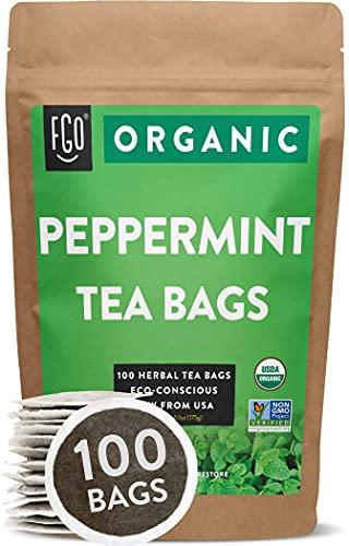 Organic Peppermint Tea Bags | 100 Tea Bags | Eco-Conscious Tea Bags in Kraft Bag | Raw from USA | by FGO